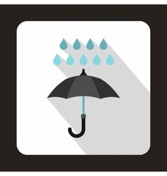 Black umbrella and rain drops icon flat style vector