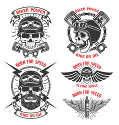 born for speed set of the emblems with racer vector image vector image