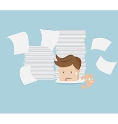 businessman under stack of document cartoon vector image