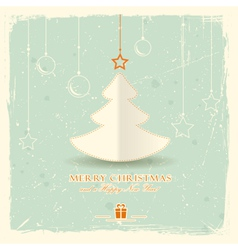 Christmas tree with hanging ornaments vector