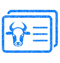 Cow account cards icon grunge watermark vector