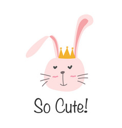 Cute bunny with i love you typography card vector