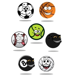 Cute cartoon sports balls mascot characters vector image