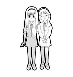 cute young girl anime or manga icon image vector image