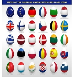 Easter eggs set with EU flags vector image