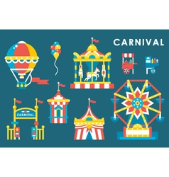 Flat style carnival infographic elements vector image