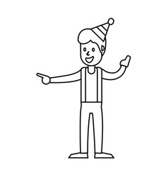 Guy dance celebrate funny outline vector