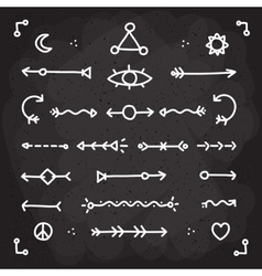 Hand drawn chalk arrows set vector