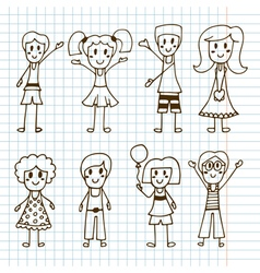 Hand drawn cute little kids collection of happy vector