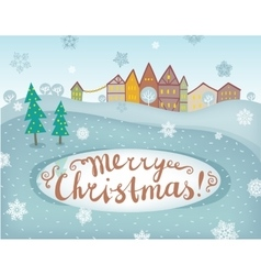 Happy new year and merry christmas landscape card vector