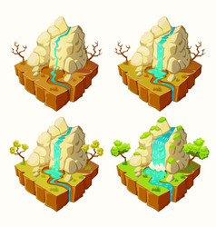 Islands with mountains and a waterfall vector