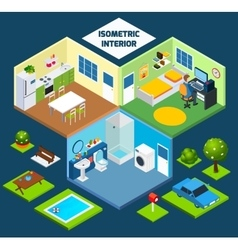 Isometric interior concept vector
