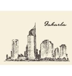 Jakarta skyline hand drawn sketch vector image vector image
