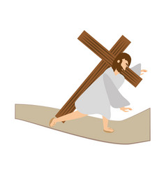 jesus christ third fall via crucis station vector image vector image