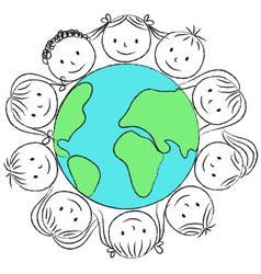 kids faces on planet chalky vector image vector image