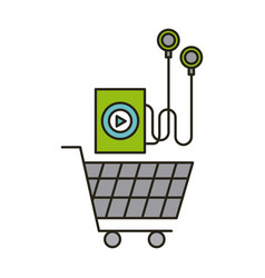 Music player and shopping cart vector