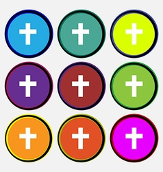 Religious cross christian icon sign nine multi vector