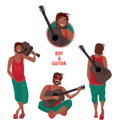 set of isolated guy with guitar vector image vector image