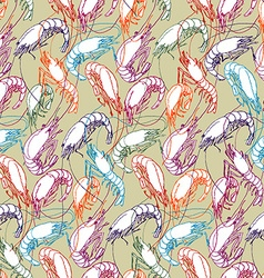 Shrimps Seamless pattern background Orange red vector image