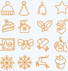Thin line winter and Christmas time icons set vector image