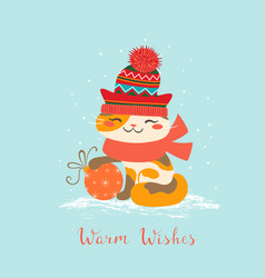 Warm wishes cat vector