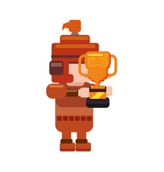 Warrior pixelated videogame vector