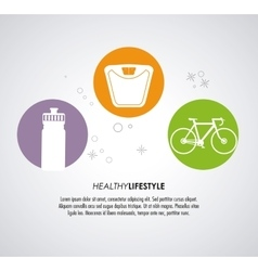 Weight bottle bike icon healthy lifestyle design vector