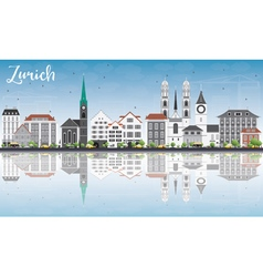 Zurich skyline with gray buildings vector