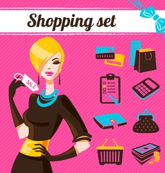 Shopping set infographics of fashion women vector image