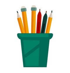 Pencils with rubbers on top in glass cup vector