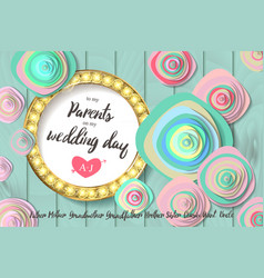 Wedding invitation gold circle flowers vector