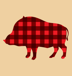 Silhouette of wild boar on lambrajack background vector