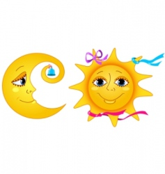 Moon and sun vector