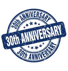 30th anniversary blue grunge stamp vector