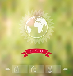 Blurred background with eco badge ecology label vector