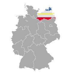 Map of germany with flag of mecklenburg-vorpommern vector