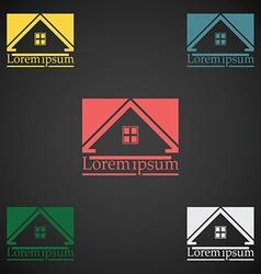 Real estate logo design template color set rooftop vector