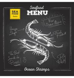 Chalk drawing sketch set of seafood Shrimps vector image