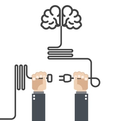 Turn on your brain - hands with plug and cord vector