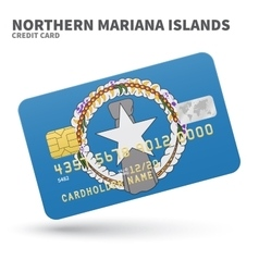 Credit card with northern mariana islands flag vector