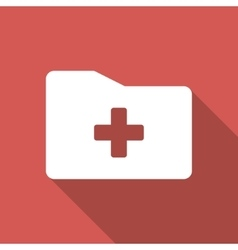 Medical Folder Flat Square Icon with Long Shadow vector image