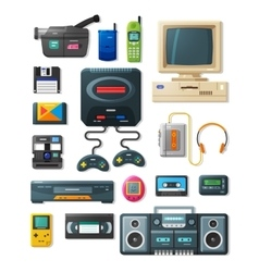 Flat retro gadgets of 90s vector