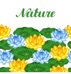 Natural seamless border with lotus flowers and vector