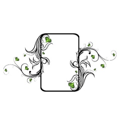 Vintage floral frame with hearts vector