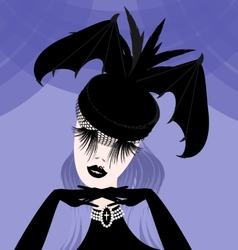 abstract lady with gothic hat vector image vector image