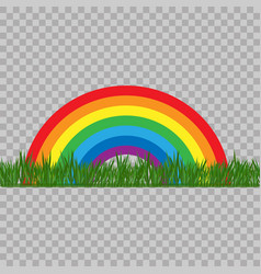 Abstract rainbow colored with grass on transparent vector