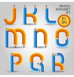 Alphabet in wooden pencil style vector image vector image