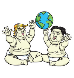 baby trump and kim jong un cartoon vector image vector image