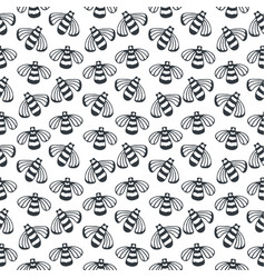 Bee seamless black and white pattern vector