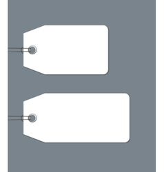 Blank gift tags tied with a string on dark vector image